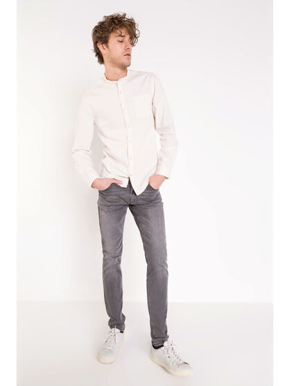 Jeans skinny used L32 denim snow gris homme