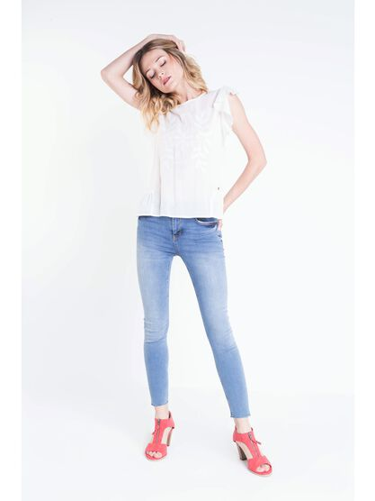 jeans skinny femme used 5 poches denim used