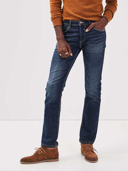 Jeans straight used L32 denim brut homme