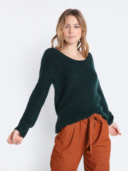 Pull manches longues vert canard femme