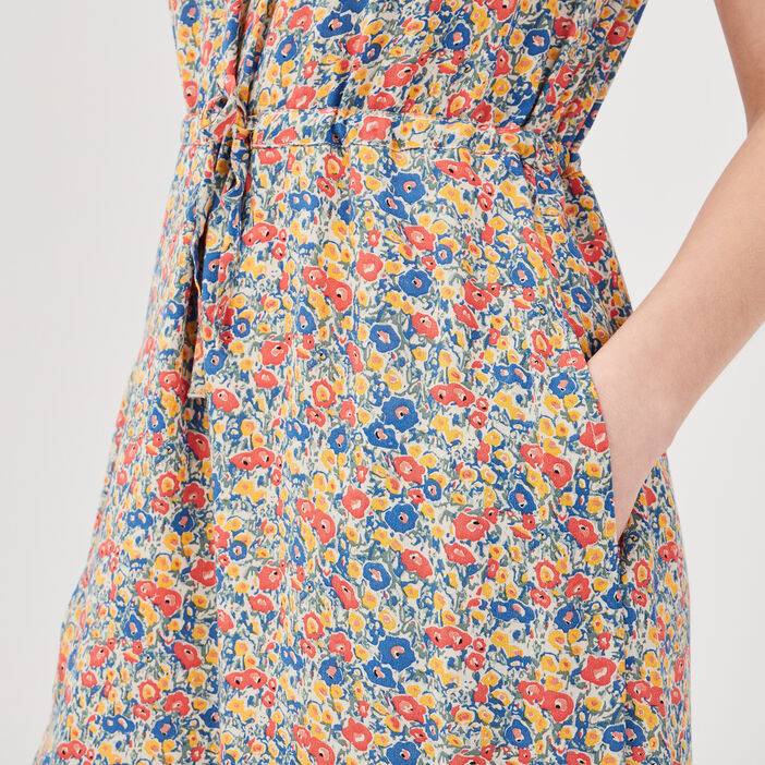 Robe droite taille coulisse multicolore femme