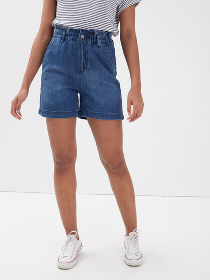 Short slouchy eco responsable denim stone femme