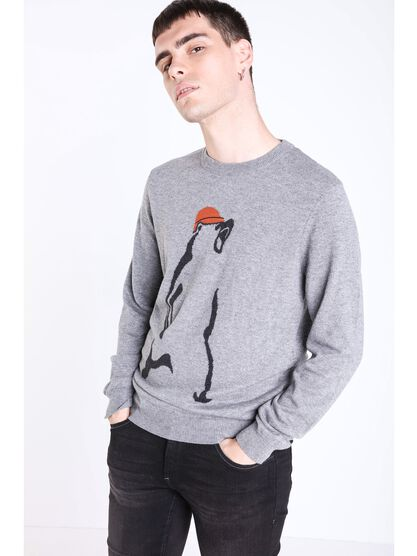 pull col rond a motif gris
