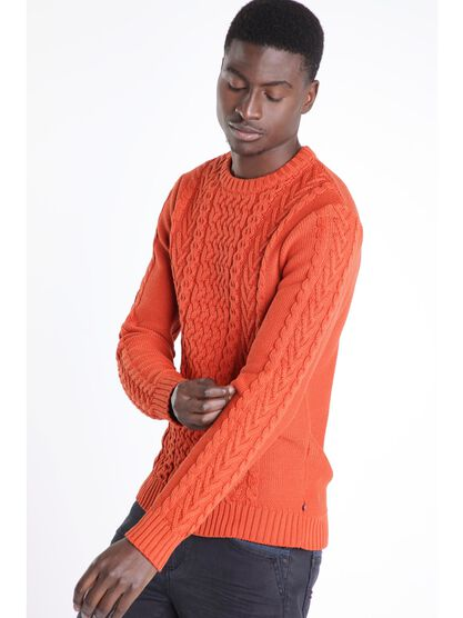Pull manches longues maille orange fonce homme
