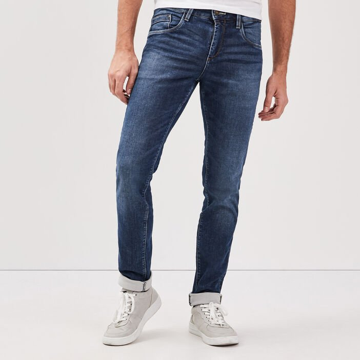 Jeans slim effet used denim stone homme