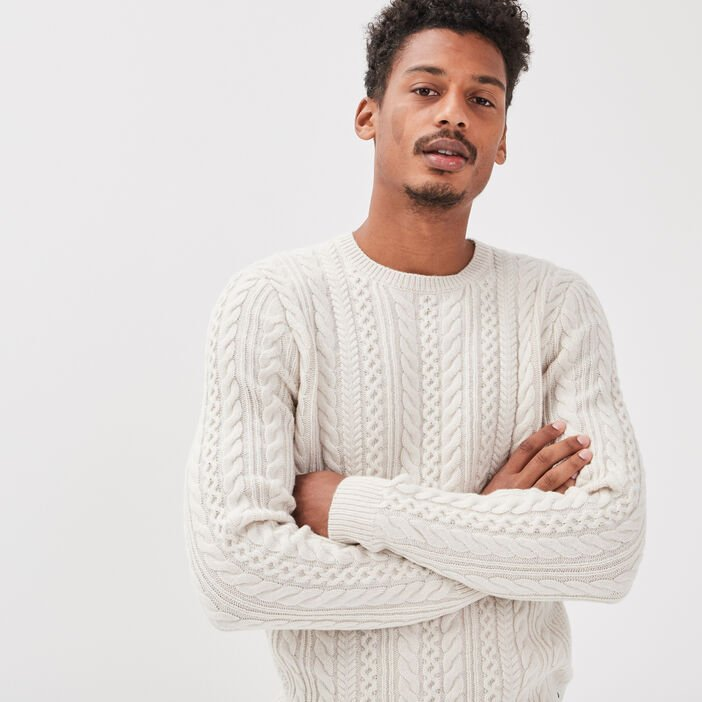 Pull manches longues ecru homme