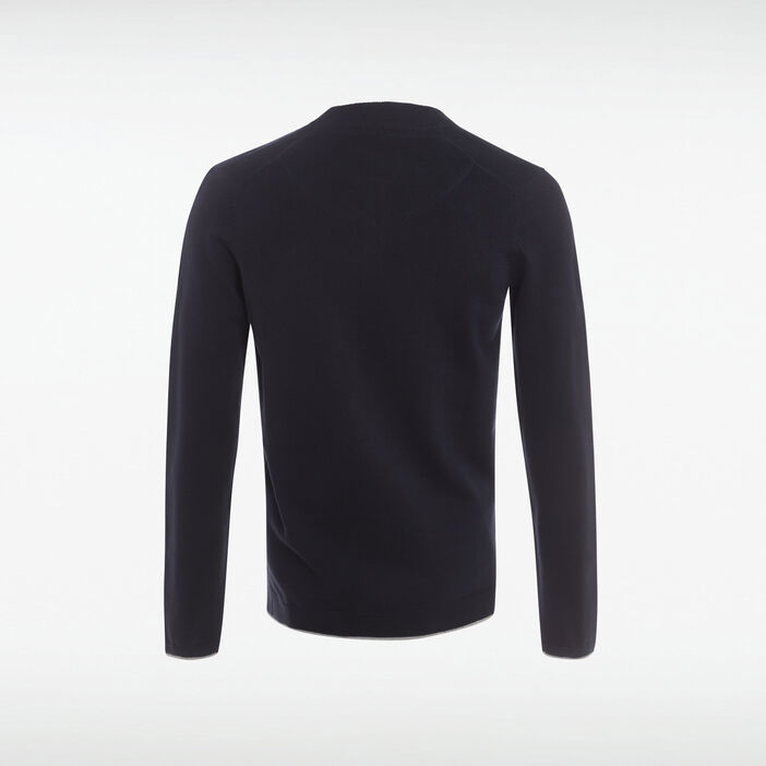 Pull col rond maille chinée bleu marine homme