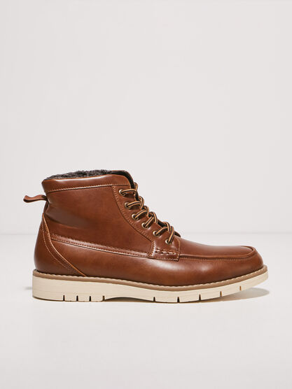 Bottines plates fourrees marron fonce homme
