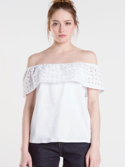 top volant femme broderie anglaise white
