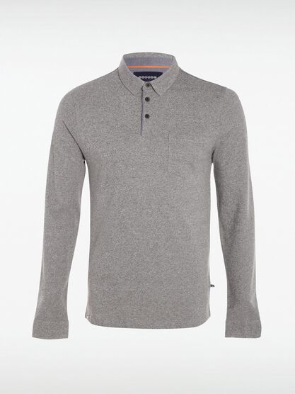 polo manches longues a boutons gris