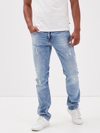 Jeans straight details destroy denim bleach homme
