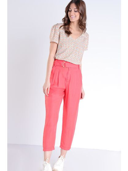 Pantalon en toile uni orange corail femme