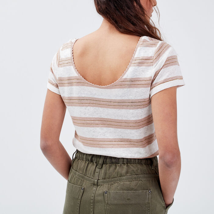 T-shirt manches courtes taupe femme