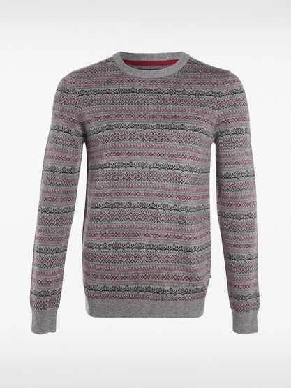 pull col rond homme jacquard fantaisie gris clair