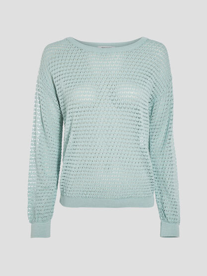 Pull manches longues ajoure vert clair femme