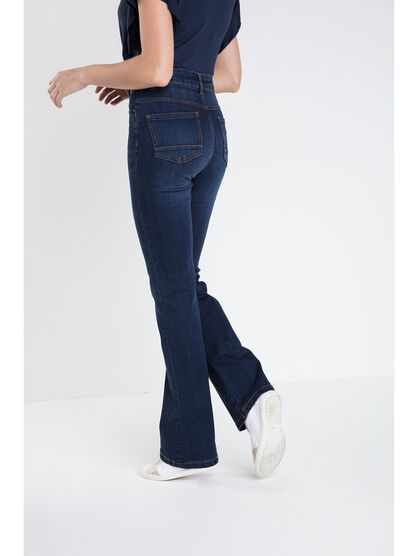 jeans bootcut femme taille haute used denim brut