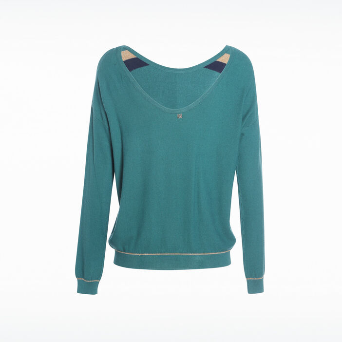 Pull manches longues à bandes vert canard femme