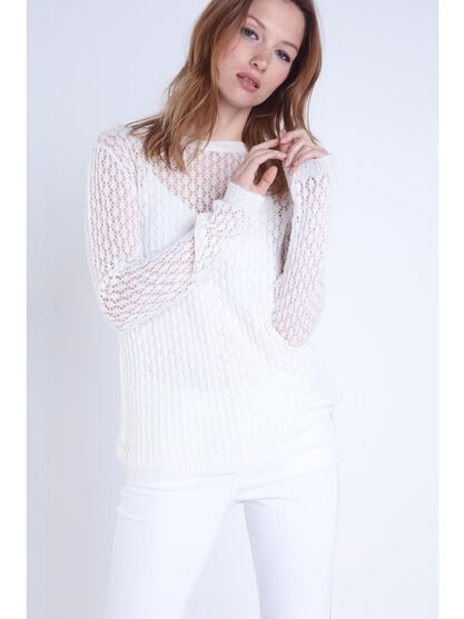 Pull manches longues fente dos ecru femme
