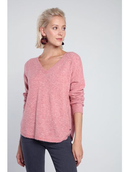 pull manches longues maille chinee vieux rose