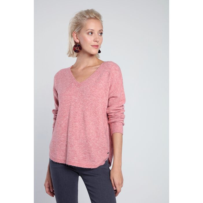 Pull manches longues maille VIEUX ROSE