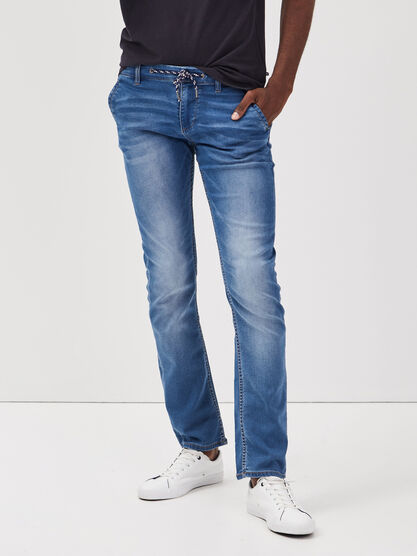 Jeans straight delave denim stone homme