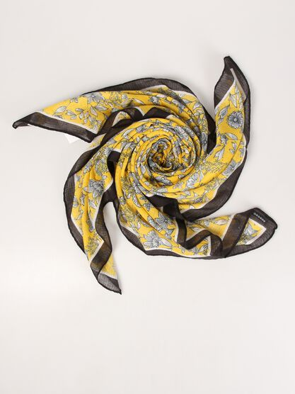17c577602b2a foulard maille imprimee femme jaune or
