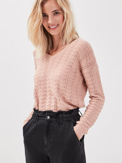 Pull manches longues ajoure vieux rose femme