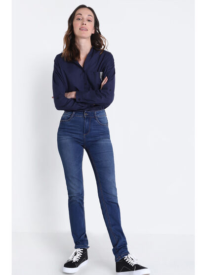 Jean recycle slim denim stone femme