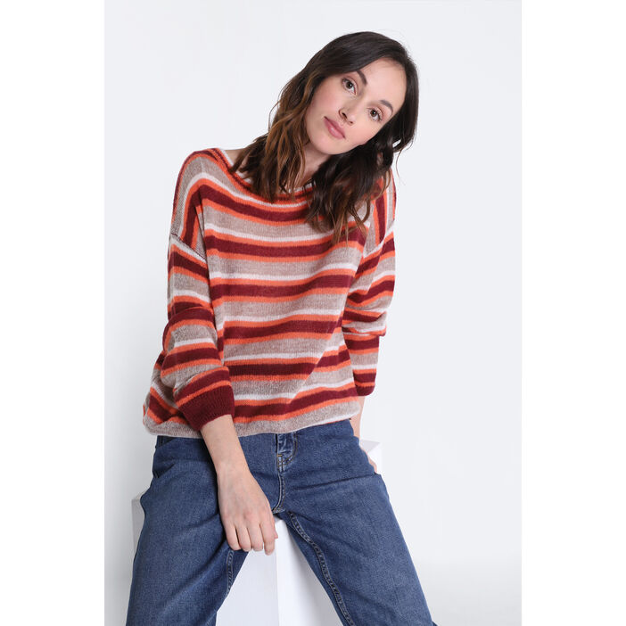 Pull manches longues col rond rose clair femme
