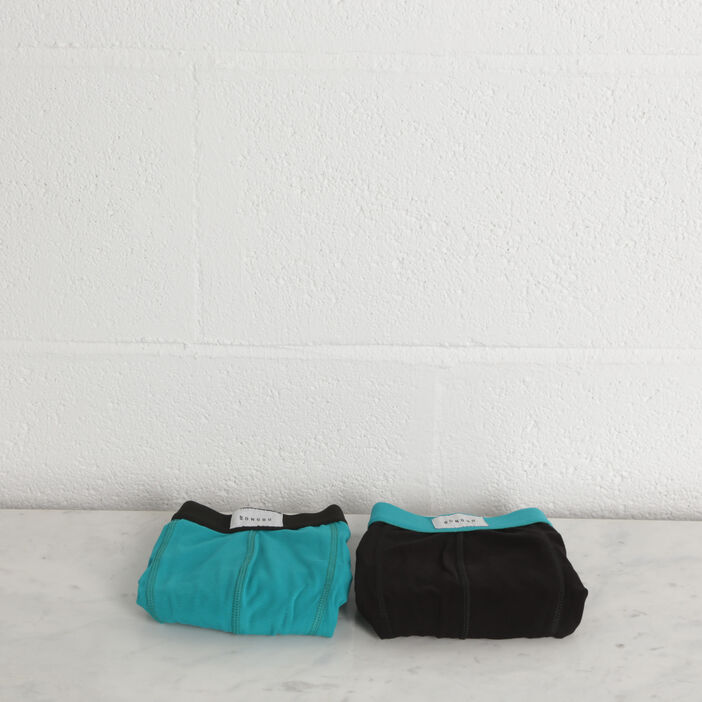 Pack 2 boxers vert turquoise homme