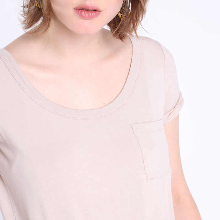 T-shirt manches courtes poche taupe femme