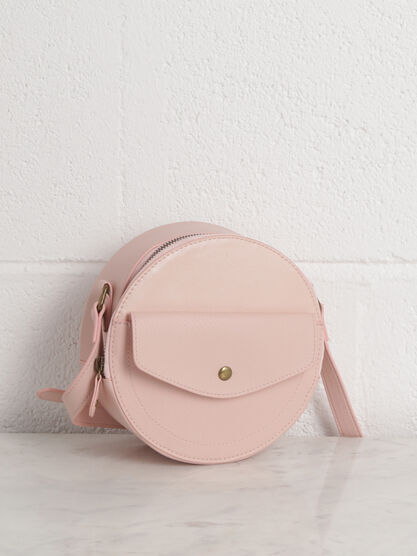 Sac rond a bandouliere rose clair femme