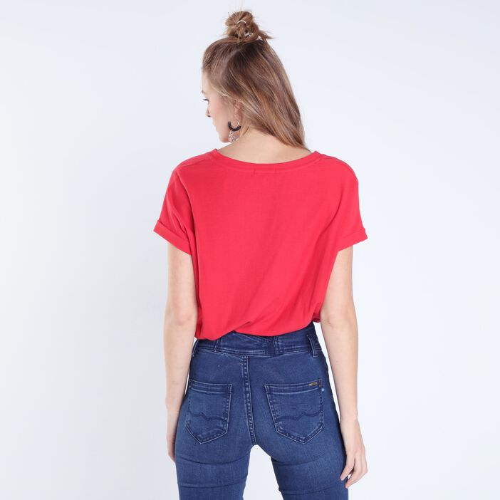 T-shirt manches courtes revers ROUGE