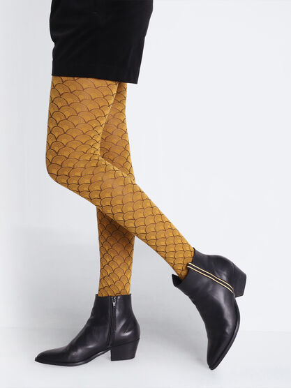Collants en maille a motif jaune moutarde femme