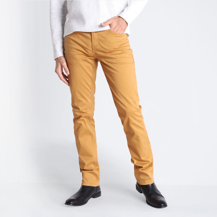 Jeans straight 5 poches camel homme
