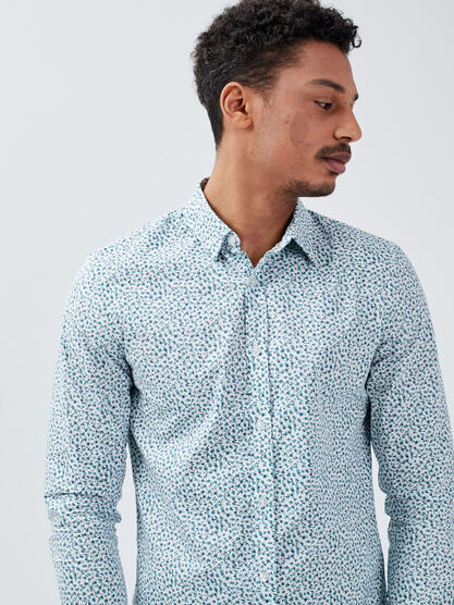 Chemise eco responsable bleu turquoise homme