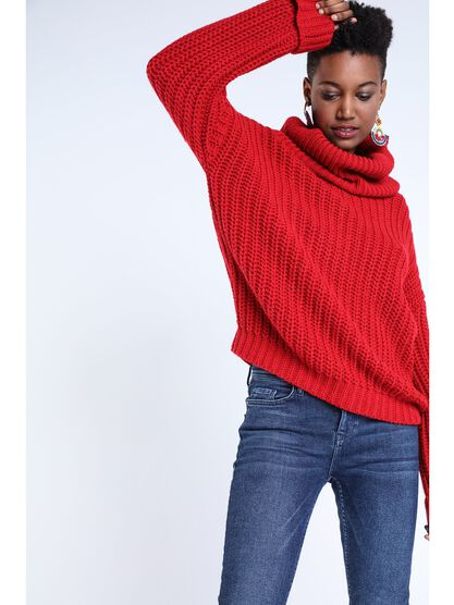 pull col cheminee femme rouge