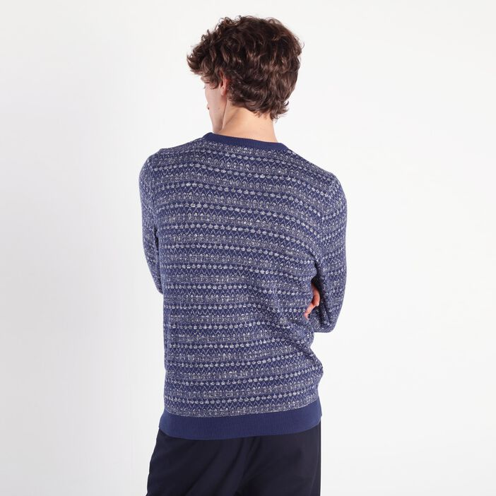 Pull manches longues col rond bleu homme
