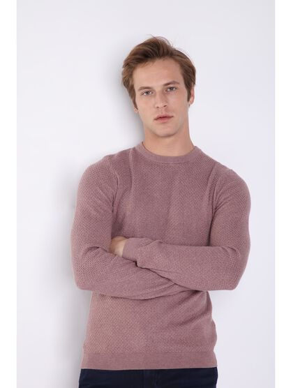 pull manches longues col rond rose clair