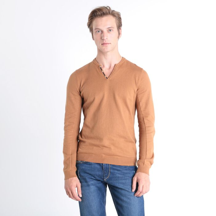 Pull col v marron clair homme