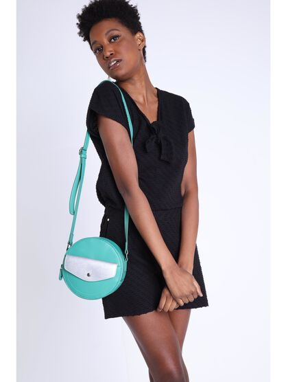 Sac rond a bandouliere vert turquoise femme