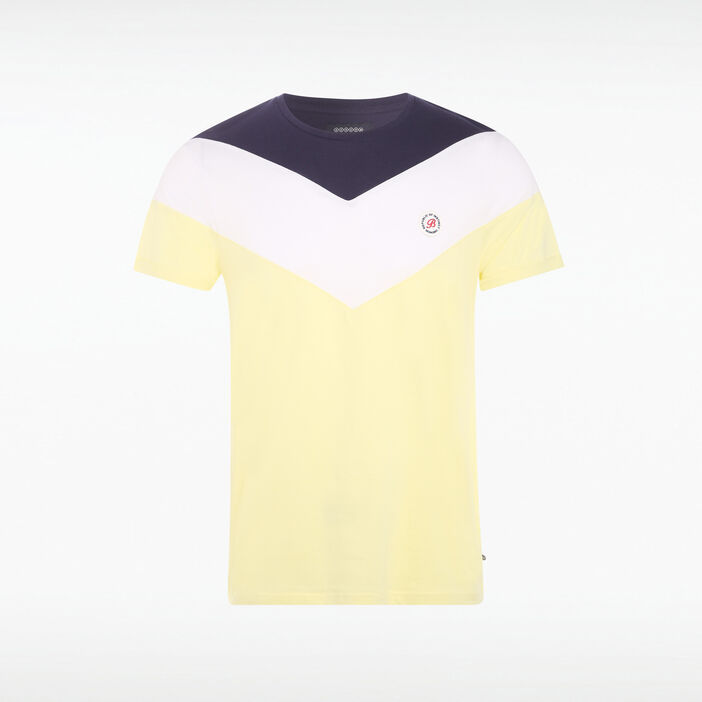 T-shirt tricolore col rond jaune fluo homme