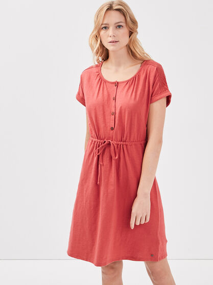 Robe droite taille a coulisse terracotta femme