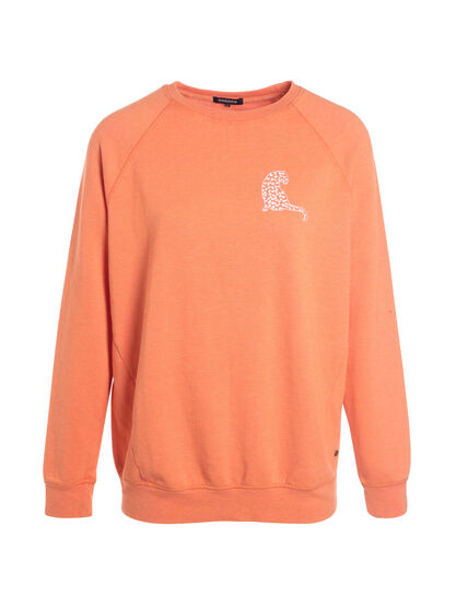 Sweat manches longues col rond orange corail femme