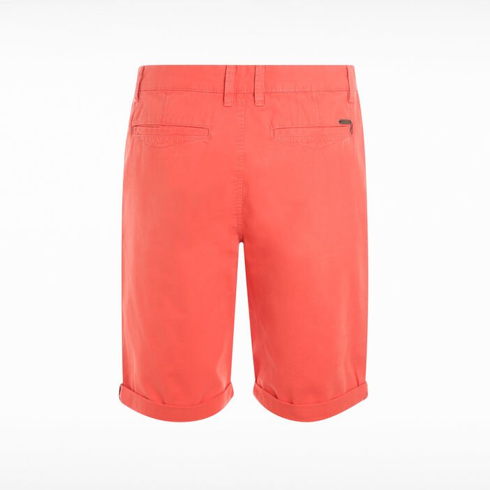 Bermuda chino à revers rouge homme