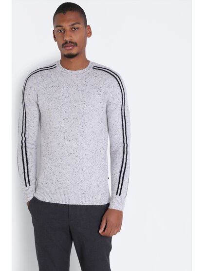 Pull manches longues col rond gris clair homme