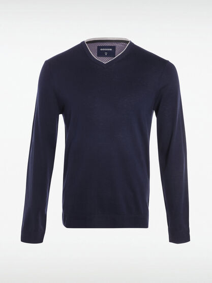 Pull manches longues col V bleu marine homme