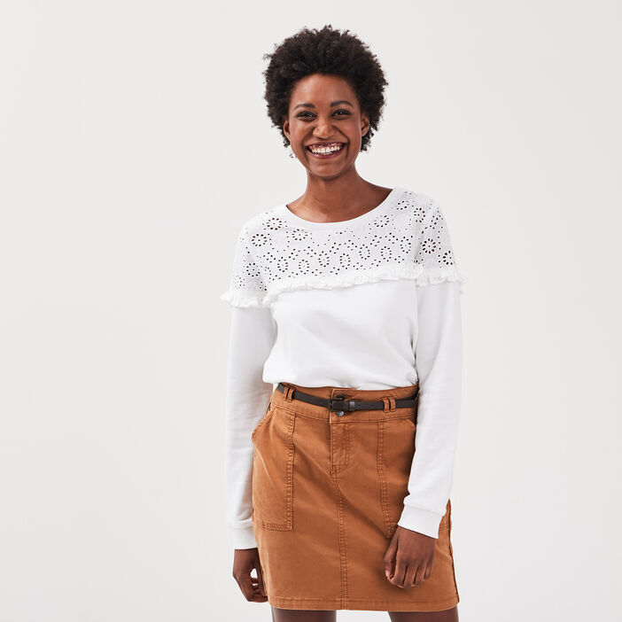 Sweat manches longues broderie blanc femme