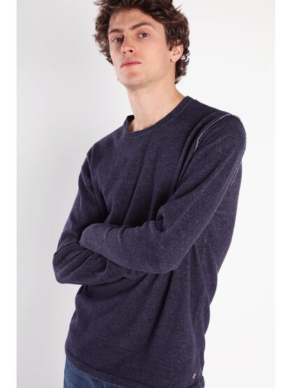 Pull manches longues chine bleu marine homme