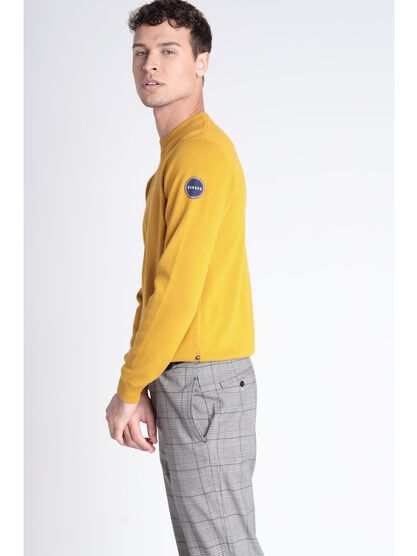 Pull manches longues jaune homme